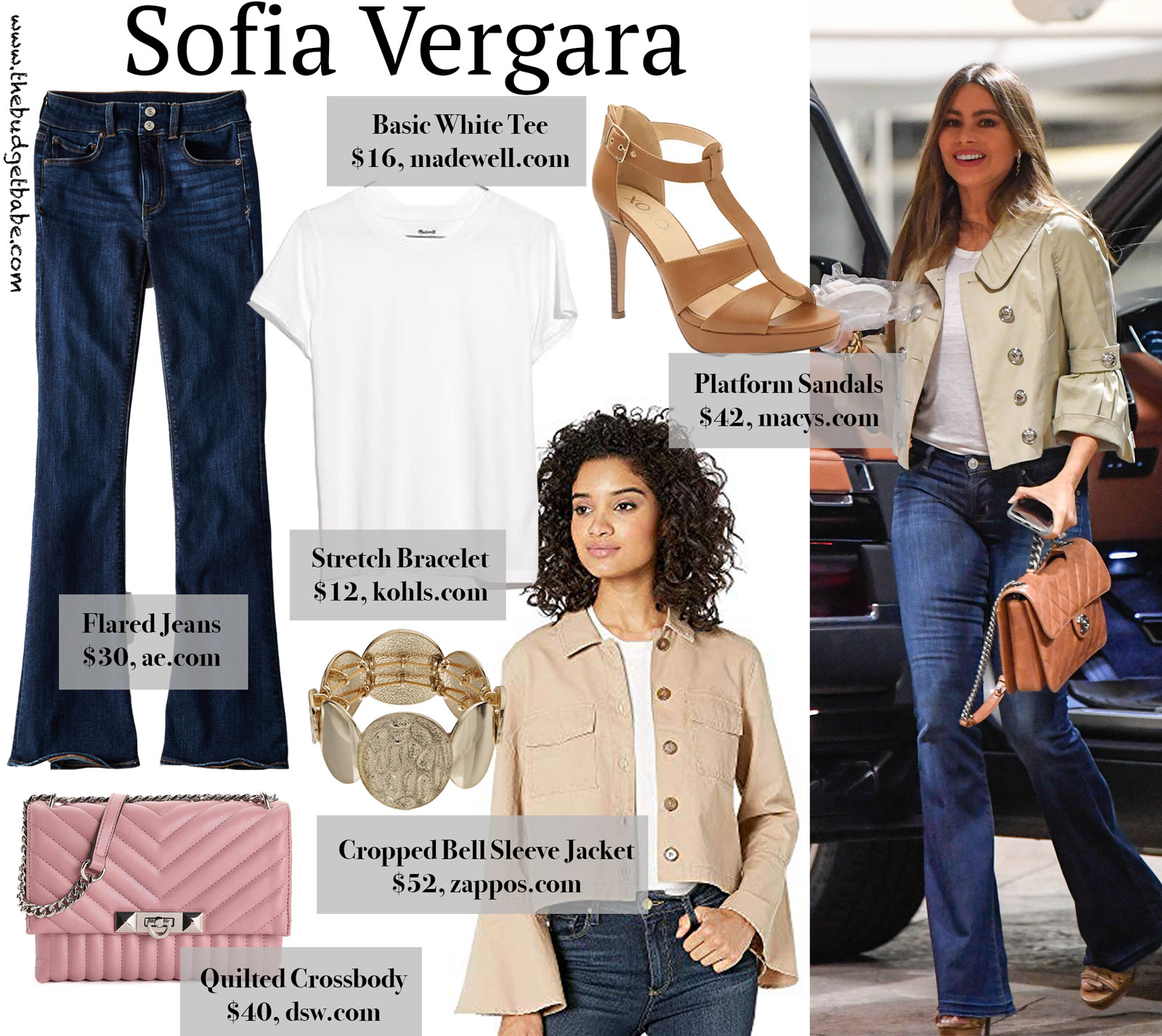 Sofia Vergara Cropped Jacket Flare Jeans Look for Less