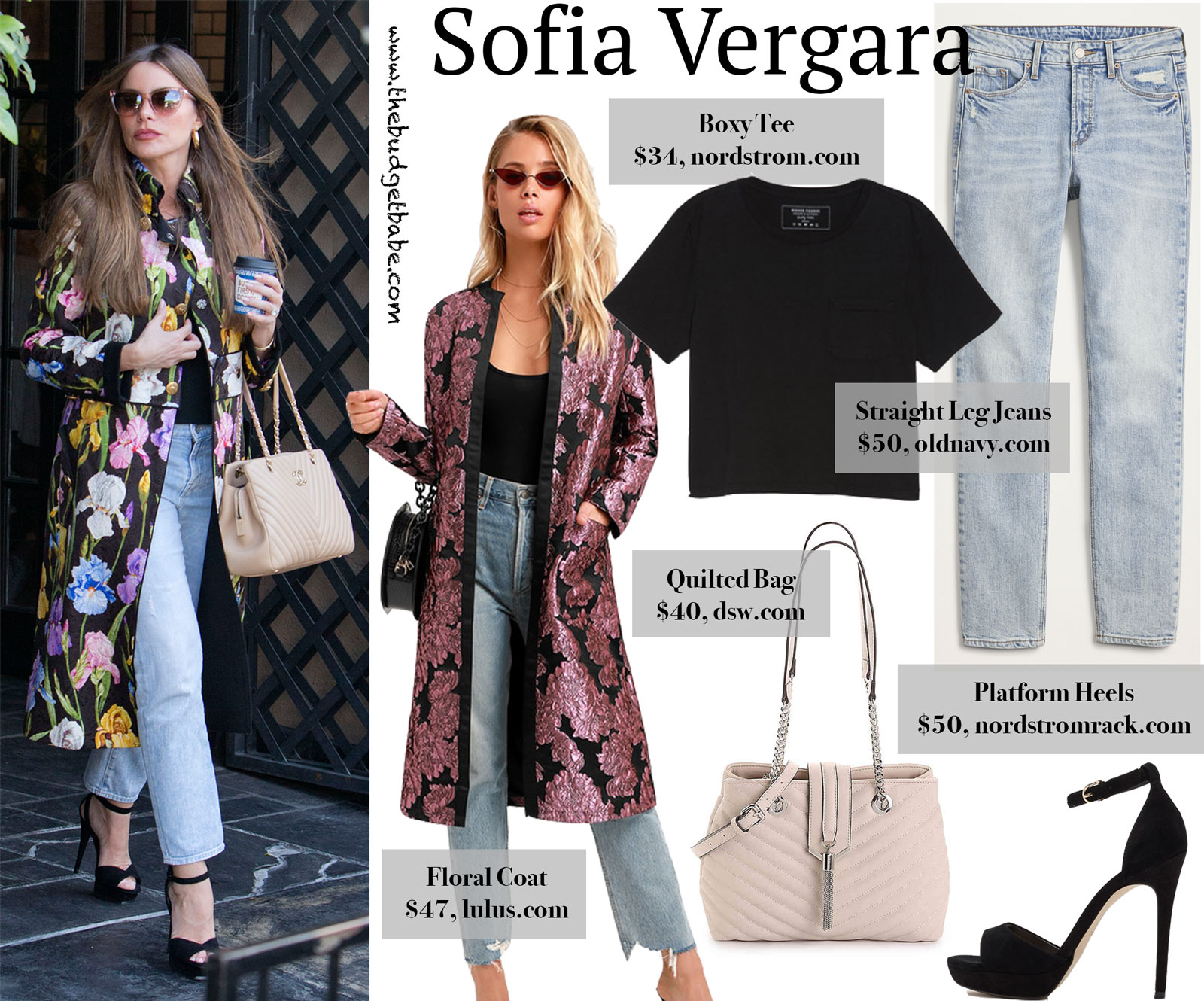 Sofia Vergara Floral Coat Look for Less
