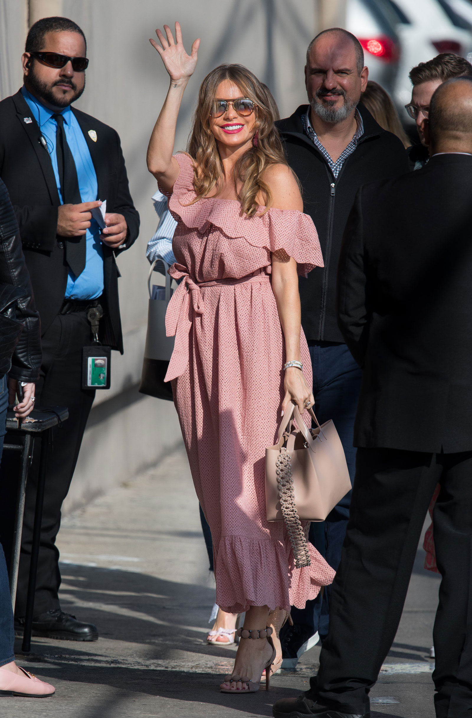 Sofia Vergara Pink Cold Shoulder Dress