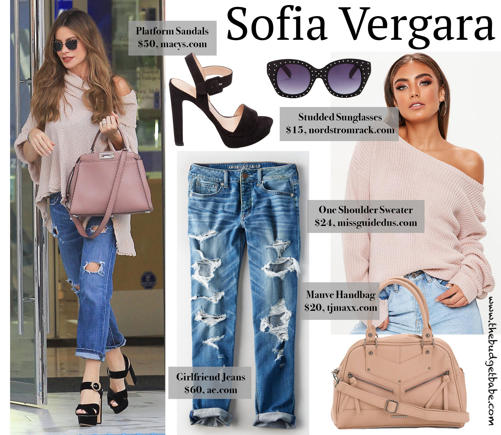 Sofia Vergara Pink Off the Shoulder Sweater and Fendi Bag
