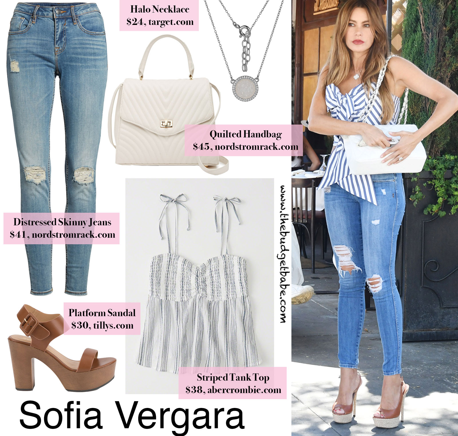 Sofia Vergara Blue Stripe Tank Look for Less