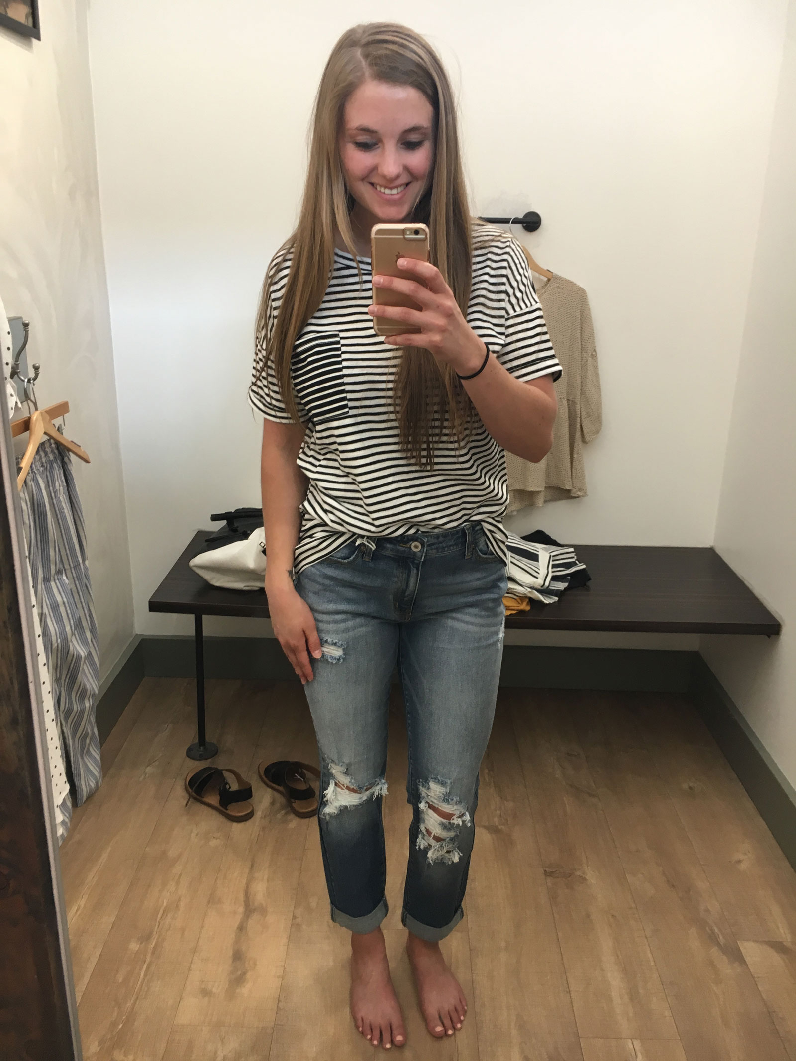 Hope Ave. Stripe Tee and Distressed Mom Jean