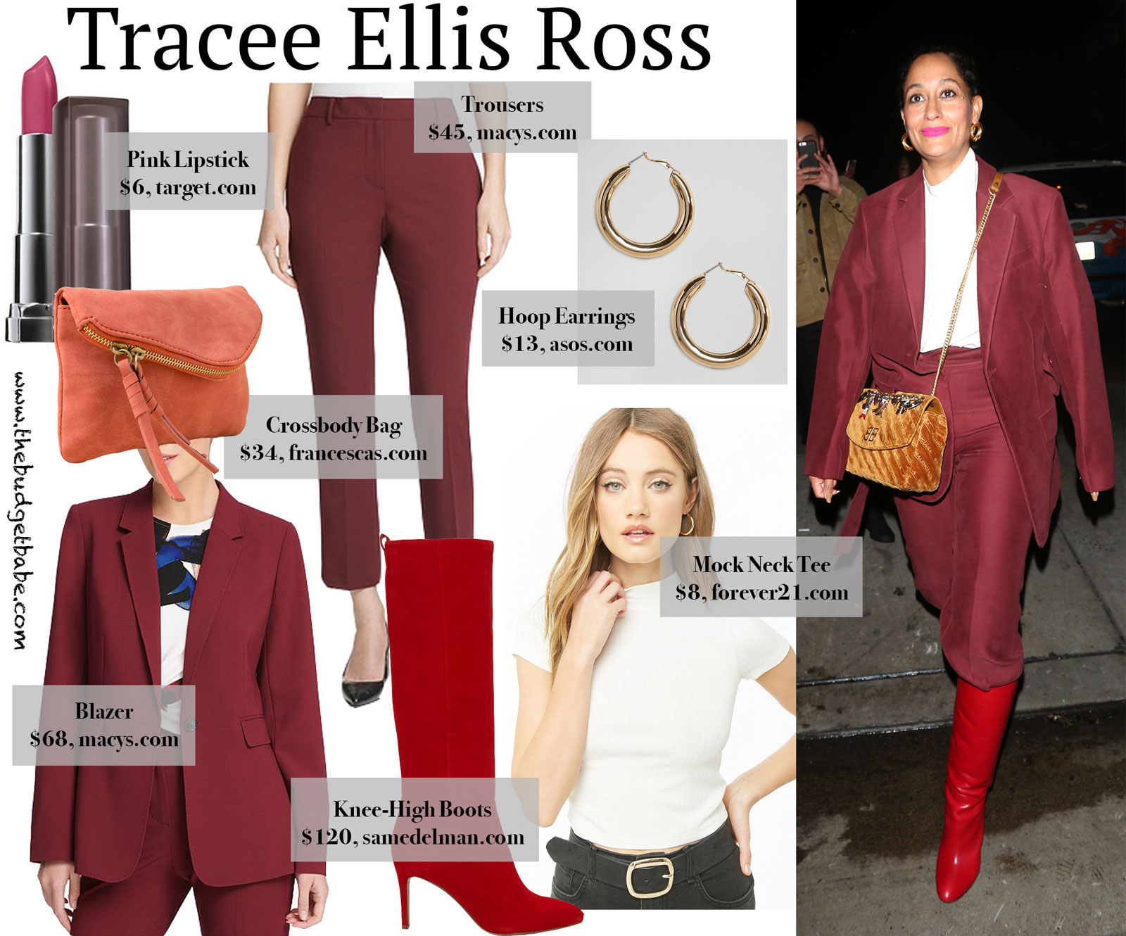 Tracee Ellis Ross Red Pant Suit Look for Less