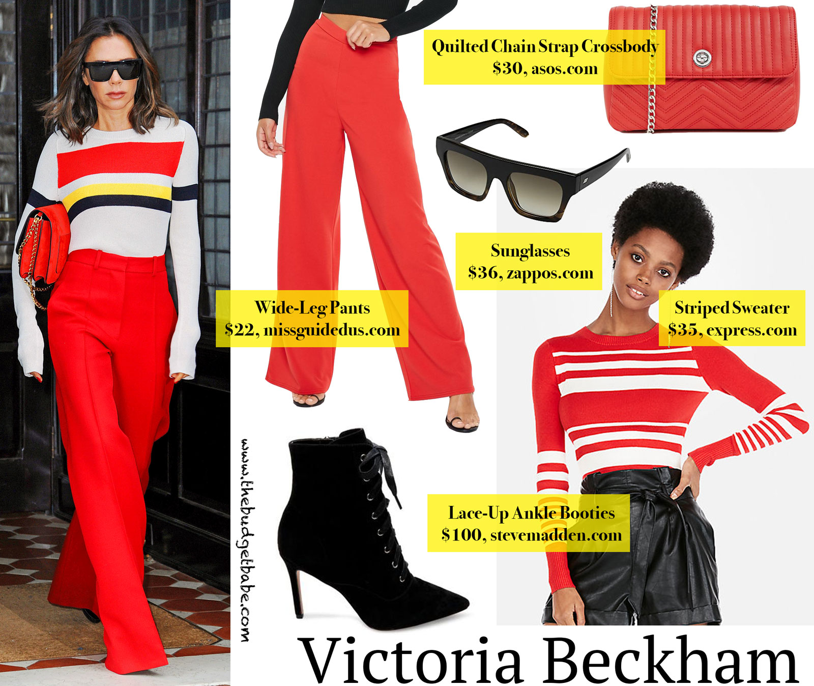 Victoria Beckham Red Wide Leg Pants Look for Less