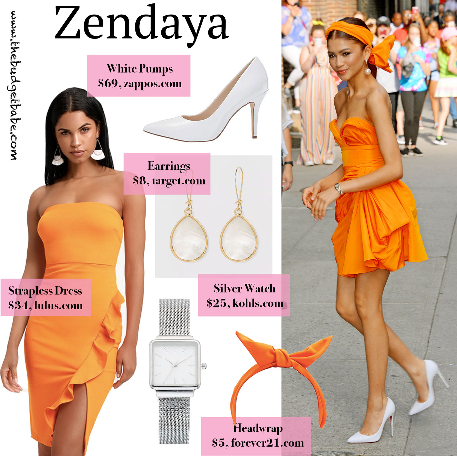 Zendaya Orange Dress Look for Less