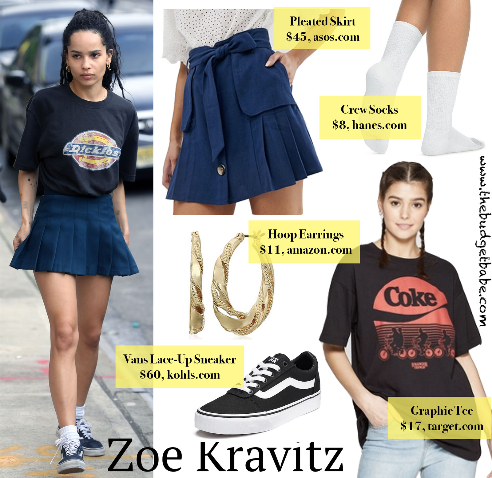 Zoe Kravitz Pleated Skirt Graphic Tee